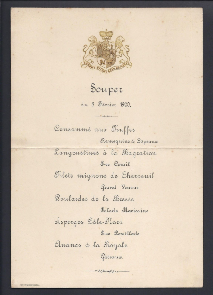 House of Prince Yusupov, Count Sumarokov-Elston Embossed Armorial Menu 1900